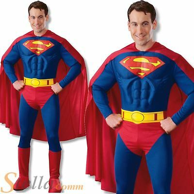 Mens Superman Deluxe Muscle Chest Superhero Fancy Dress Costume Film Outfit