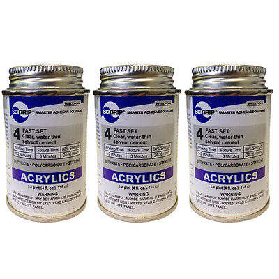 Weld-On 4 Acrylic Adhesive - 4 Oz Pack of 3