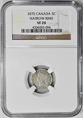1870 5c Canada Silver Narrow Rims NGC VF-20  Very Fine Five Cents