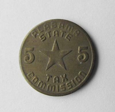 Vintage Old Antique Brass Alabama Retail State Sales Tax Token Coin AL 5 Mill