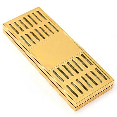 17cm Plastic Gold Tobacco Rectangular Smoking Cigar Humidor Humidifier Case Box