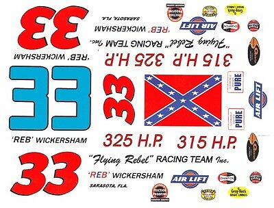 #33 REB Wickersham 1960 1/24th - 1/25th Scale Waterslide Decals