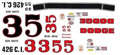 #3 or #5 Don White 1969-70 Dodge Charger 1/64th HO Scale Slot Car Decals