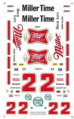 #22 Bobby Allison Miller High Life 1/24th - 1/25th Scale Waterslide Decal