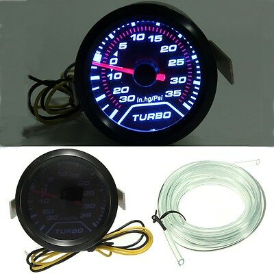 Universal 2''52mm LED Light Car Turbo Boost Pressure Gauge Smoked Dials Psi