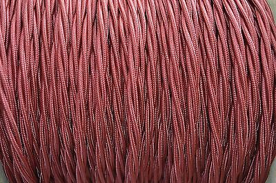 1 Meter Burgundy Silk Covered 3 Core Light Flex Wire Braided Twisted Cord B6