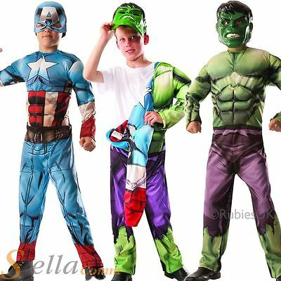 Boys Deluxe Reversible Muscle Chest Captain America To Hulk Fancy Dress Costume