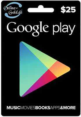 Google Play Card 25 US Dollar - $25 USD Gift Code USA Android Store Gutschein US