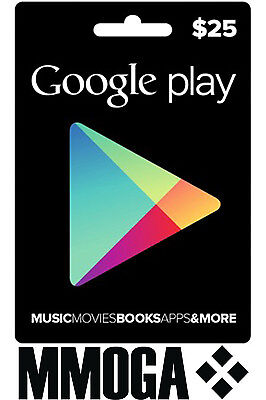 $25 USD Google Play Gift Card 25 US Dollar Gutschein USA Android Store Code Key