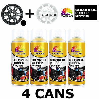 Carlas 3 x MATT BLACK + 1 x CLEAR LACQUER - Removable Rubber Spray Film For Allo