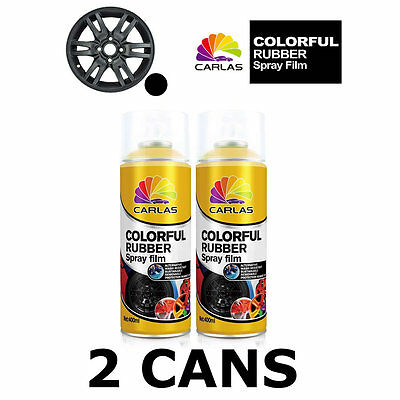 2 x Carlas MATT BLACK Removable Rubber Spray Film for Alloy Wheels 400ml/can