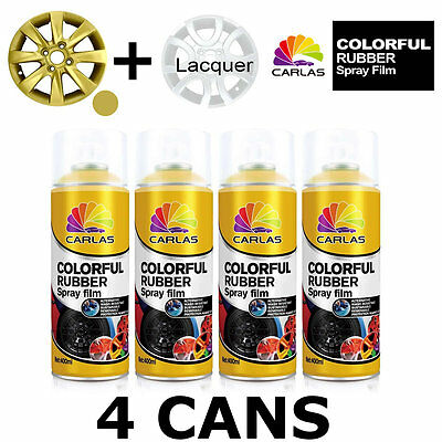 Carlas 3 x GOLD + 1 x CLEAR LACQUER - Removable Rubber Spray Film For Alloy Whee