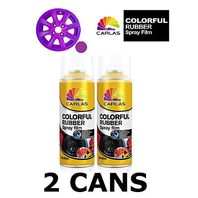 2 x Carlas VIOLET Removable Rubber Spray Film for Alloy Wheels 400ml/can