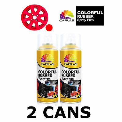 2 x Carlas RED Removable Rubber Spray Film for Alloy Wheels 400ml/can