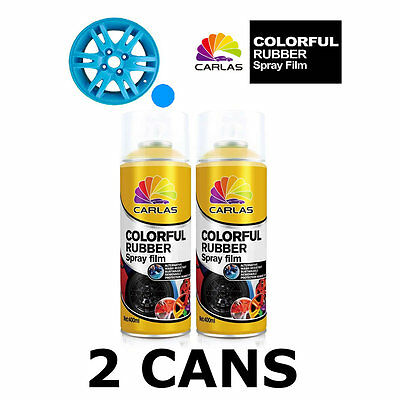 2 x Carlas SKY BLUE Removable Rubber Spray Film for Alloy Wheels 400ml/can