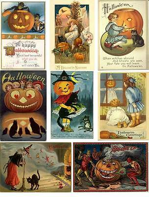Vintage Halloween Postcard Collage Sheet           A32