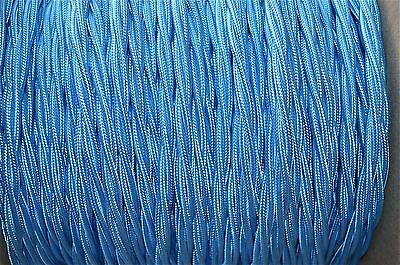 1 Meter Blue Silk Covered 3 Core Light Flex Wire Braided Lamp Twisted Cord B11