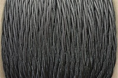 1 Meter Black Silk Covered 3 Core Light Flex Wire Braided Twisted Lamp Cord B15