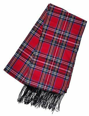 Plaid Scarf with Fringe Red Plaid Tartan Winter Holiday Costume Snowman 1026