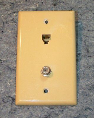 Vintage Leviton Off White Bakelite Cable & Telephone Jack Outlet Plate