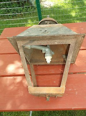Older Outdoor Gas Light  Lantern Shape  About 18 Inches HIgh  No Glass Panels