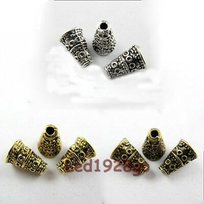 Hot 10x7mm  Tibetan Antique Silver Cone Bead Caps End Beads Findings 50 Pcs