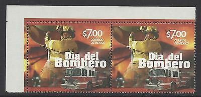 Mexico 2014 Fireman Day Fire Engine Corner Pair Mnh