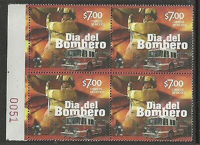 Mexico 2014 Fireman Day Fire Engine Block Of Four Mnh