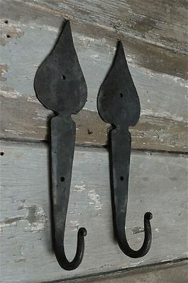 A Pair Of Large Handwrought Iron Spade Hooks Folk Art Wall Hook Door Hanger Mh3