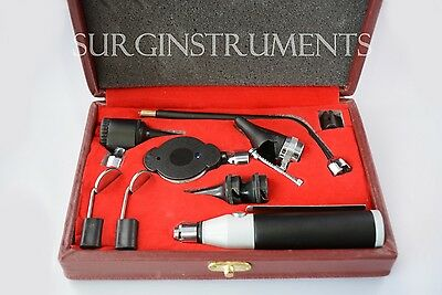 Otoscope & Ophthalmoscope - Complete 10 Piece ENT Medical Diagnostic Set