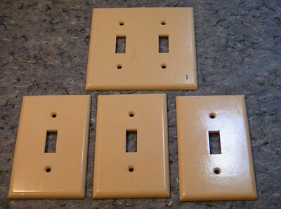 4 Vintage Cream Smoothie Bakelite Double & single Toggle SwitchPlate Covers