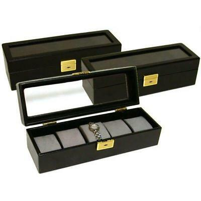 3 - 5 Watch Display Cases Travel Glass Top Black