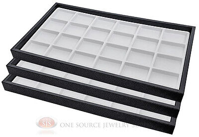 (3) Black Plastic Stackable Trays w/24 Compartment White Jewelry Display Inserts
