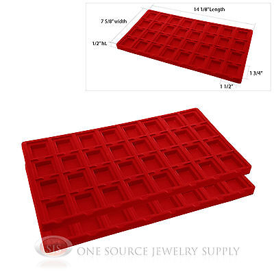 2 Red Insert Tray Liners W/ 32 Compartments Earrings Organizer Jewelry Display