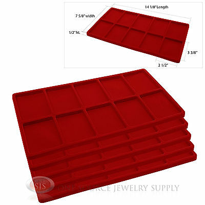 5 Red Insert Tray Liners W/ 10 Compartments Drawer Organizer Jewelry Displays