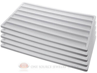 5 White Insert Tray Liners With 6 Slot Each Drawer Organize Jewelry Displays
