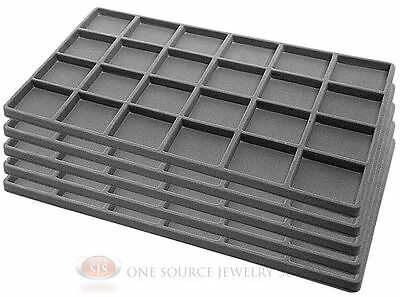 5 Gray Insert Tray Liners W/ 24 Compartments Drawer Organizer Jewelry Displays