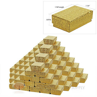 "100 Jewelry Gift Boxes Cotton Filled Gold Foil Texture 1 7/8"" x 1 1/4"" x 5/8"""