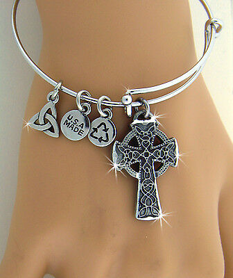 New Charmalicious Bold Reversible Celtic High Cross Charm Bangle