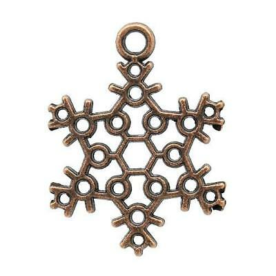 Packet of 15 x Red Copper Tibetan 22mm Charms Pendants (Snowflake) ZX10855