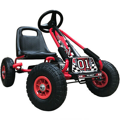 Kiddo 2017 Racer Design Red Kids Childrens Pedal Go-Kart Ride-On Rubber Wheels