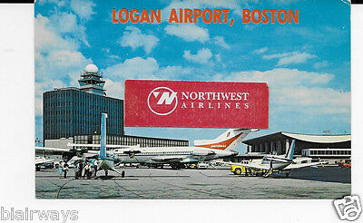Boston Logan Airport 1970's National Airlines 727-100 Executive Otter  Postcard