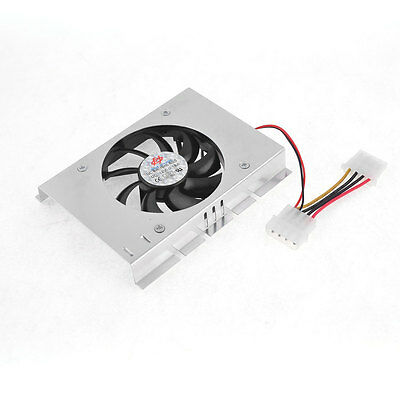 "Computer PC HDD Silver Tone Black Single Fan 3/2"" Hard Drive Cooler Cool"