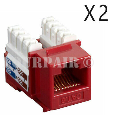2 Pack Lot - CAT6 Network RJ45 110 Punch Down Keystone Snap-In Jack - Red