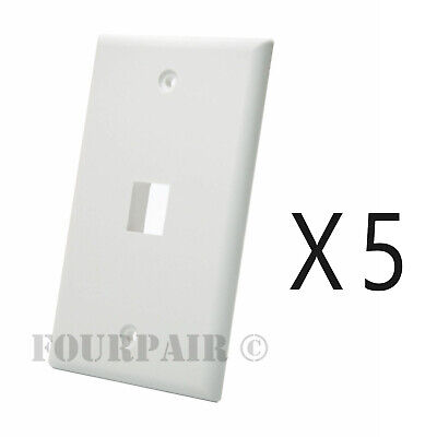 5 Pack Lot - Keystone 1 Hole Port Jack Wall Face Plate Audio CAT5e CAT6 - White