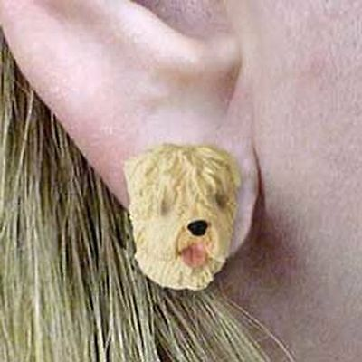 Soft Coated Wheaten Terrier Tiny One Dog Head Post Earrings Jewelry