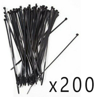 "200 Pack Lot Pcs - 8"" Inch UV Resistant Nylon Cable Zip Wire Tie 50 lbs - Black"
