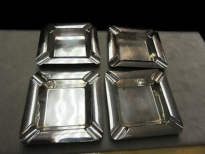 RARE Set 4 Vintage Japan 950 Sterling Silver Individual Ash Trays