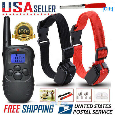 Electric Dog Training 2 Collar Shock Vibrate Collar With LCD Remote For 2 Dogs
