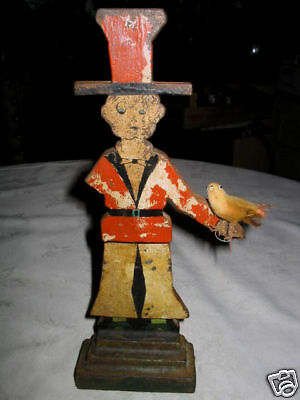Antique Americana Folk Art Primitive Cast Iron Patriotic Usa Man Bird Doorstop